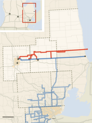 Map shows KWA pipeline in red, DWSD pipelines in blue.