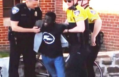 Freddie Gray appeared severely, possibly mortally wounded, during his arrest by white officers before being put into van.
