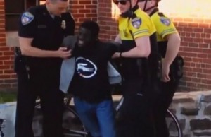 Freddie Gray screams in agony as he is arrested April 12, 2015. He had no pulse on arrival to the hospital, but was resuscitated. He succumbed to sever spinal cord injuries April 19.