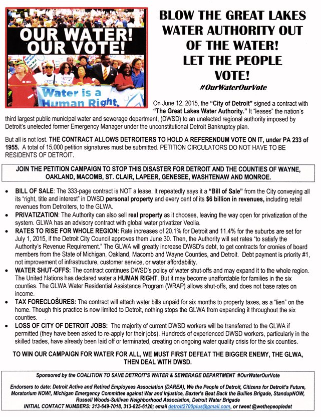 Flier for the Detroit Coalition to Save Detroit's Water & Sewerage Department.