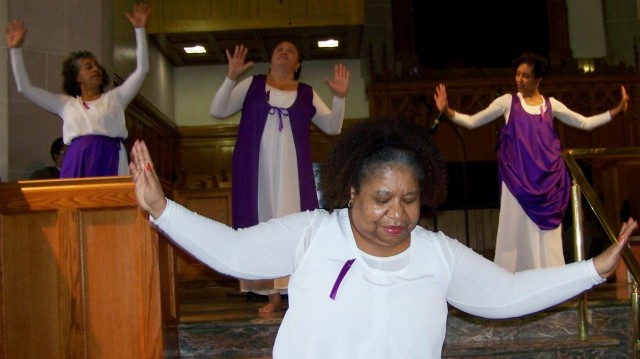 Members of the Godboldos' dance troupe at Hartford Memorial Baptist Church, where homegoing ceremony for family matriarch Lovey Godboldo, 102, will be held Tues. June 2 at
