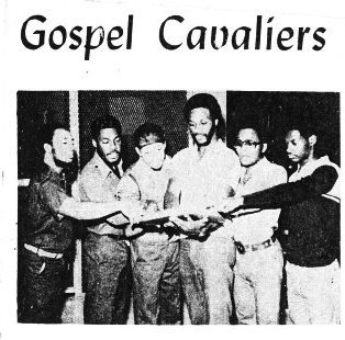 The Gospel Cavaliers, band at Ionia Reformatory. Charles Lewis is at right. Photo featured in article on band in Grand Rapids Organizer.