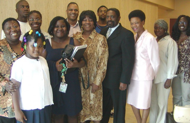 Arnetta Grable (center), mother of Lamar Grable, executed by three time killer cop Eugene Brown in 1996, with her family, lawyers and supporters, celebrating victory in civil lawsuit that took 10 long hard years of struggle.