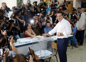 Greek Prime Minister votes.