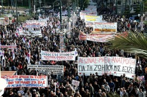 Protest in Greece against IMF banks and austerity measures.