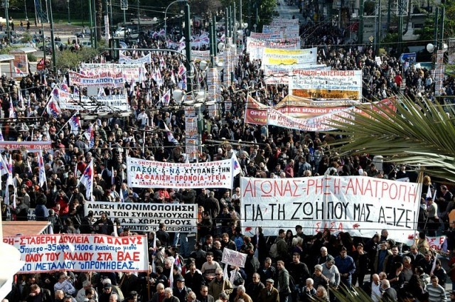 Earlier, Greeks held massive protests against austerity, including pension cuts.