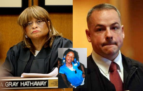 Judge Cynthia Gray Hathaway (l) has now dismissed all charges against killer cop Joseph Weekley (r) for shooting Aiyana Jones, 7, to death with an MP5 submachine gun.