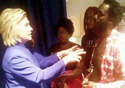 Hillary appears to be telling #BLM leaders her side of the story.