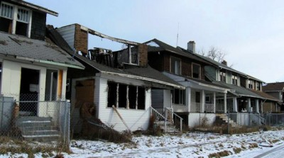 Foreclosed and abandoned houses on Detroit's east side.