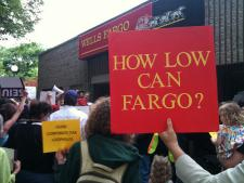 Protest against Wells Fargo, which holds 40 percent of home loans in the U.S.