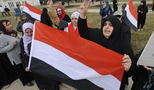 Women, carrying Yemen's flag, were part of huge protest in Dearborn March 29 against U.S.-Saudi air strikes on Yemen. Houthi rebels there had finally overturned pro-U.S. regime, counter-revolution n progress.