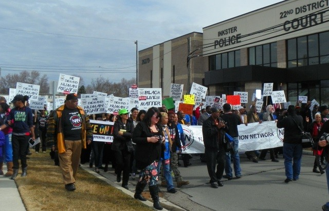 April 2 March passes Inkster police station.