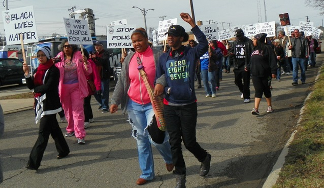 Inkster youth join April 2 march against beating of Floyd Dent.