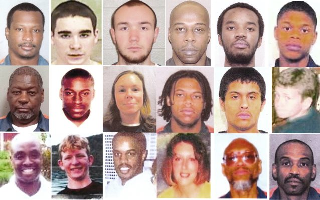 Some of Michigan's  juvenile lifers: (l to r, top through bottom row), Cortez Davis, Raymond Carp, Dakotah Eliason, Henry Hill, Keith Maxey, Dontez Tillman, Charles Lewis, Jemal Tipton, Nicole Dupure, Giovanni Casper, Jean Cintron, Matthew Bentley, Bosie Smith, Kevin Boyd, Damion Todd, Jennifer Pruitt, Edward Sanders, David Walton (photos show some lifers at current age, others at age they went to prison).