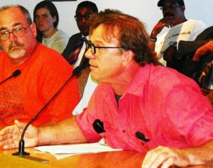 Bucharest Grill owner Jerry Ballenger heatedly testifies against Illitch re-development plans for new Red Wings stadium, at City Council Sept. 5, 2013.