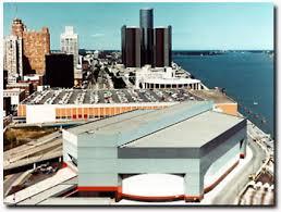 Joe Louis Arena (bottom) on valuable Detroit riverfront property.