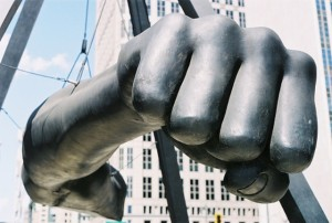 Sculpture in black of Joe Louis' fist in downtown Detroit. To many Black Americans, Joe Louis represented the defeat of white supremacy.