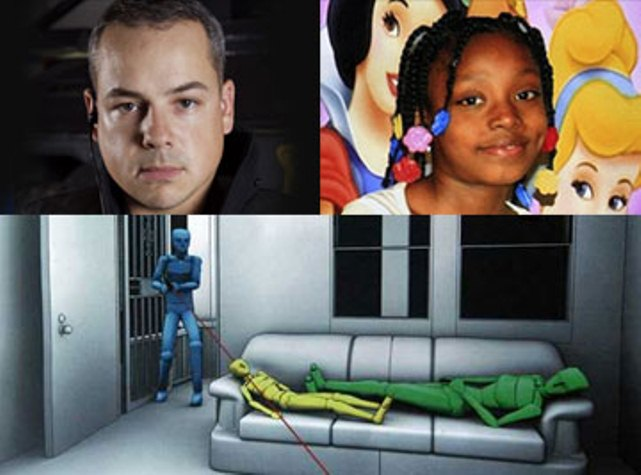 Top: (l) Joseph Weekley (r) Aiyana Jones; bottom: depiction of shooting.