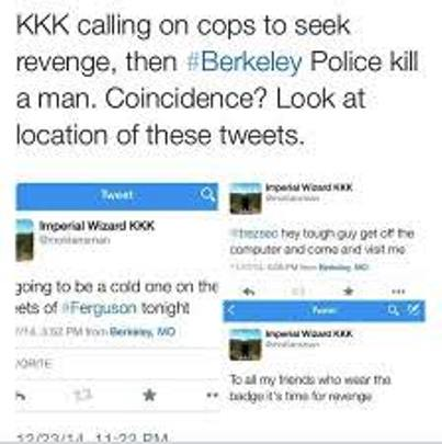"Tweets allegedly from ""Imperial Wizard"" of KKK."
