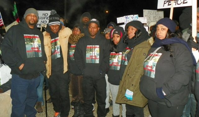 Family members were part of a large march in Dearborn Jan. 4, 2016. At center is Kevin Matthews' brother Lavell Matthews; Kimberly Matthews is 2nd from left.
