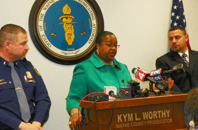 Wayne County Prosecutor Kym Worthy announces charges against Williams at press conference April 20, 2015.