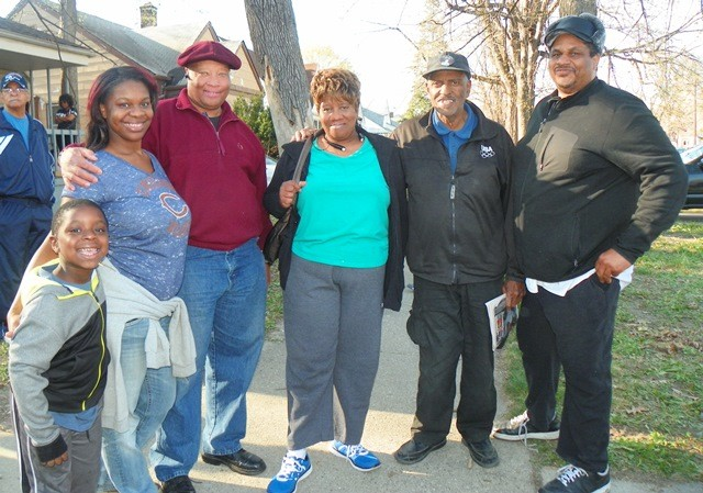 Members of the Original Detroit Coalition Against Police Brutality at rally for Terrance Kellom. L to r: Lamar Grable, son of A.J. Grable, Butch Carrington, Arnetta Grable, Herman Vallery and Cornell Squires. The Grables are the family of Lamar Grable, kmurdered  by three-time killer cop Eugene Brown in 1996.