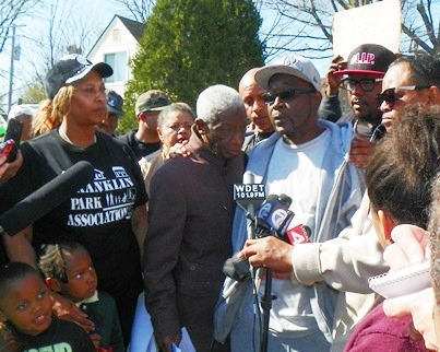 Kevin Kellom, father of Terrance Kellom, 19, addresses rally near their home April 28, 2015.