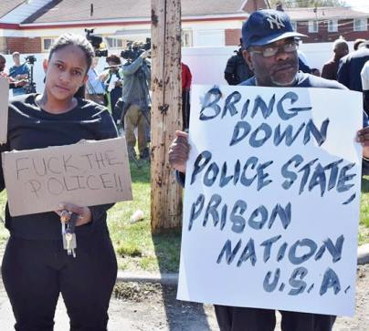Protesters near Kellom home. Photo: Kenny Snodgrass