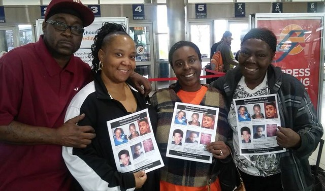 Terrance Kellom's father Kevin Kellom, stepmother Yvette Johnson, with family members of two others killed by police, Kimberly Griffin and Mertilla Jones, during national tour against police brutality.