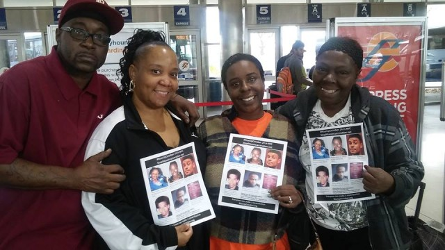 Kevin Kellom and wife Yvette Johnson, Kimberly Griffin and Mertilla Jones heading out for New York City's #RiseUpOctober events. Photo: Fred Engels.