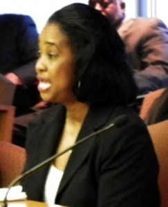 AFSCME Health Department Local 457 President Laurie Walker testifies at City Council May 6, 2012.