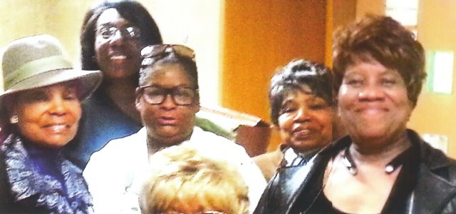 Lennette Williams (in white top) with her attorney Allison Folmar behind her; (l to r) supporters Elaine Steele, Anita Peek, Arnetta Grable/Photo by Cornell Squires