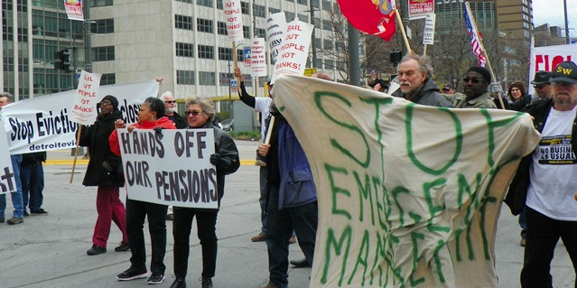 MayDay protest against Detroit bankruptcy, emergency management blocks Woodward Ave. May 1, 2014.