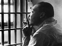 Rev. Martin Luther King, Jr. in prison during civil rights battle.