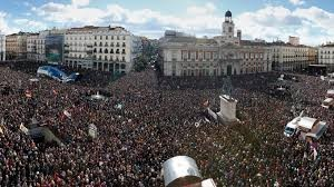 Hundreds of thousands of anti-austerity protesters fill square in Madrid Feb. 3, 2015. Attack on workers' pensions, wages, benefits, safety net is world-wide.