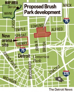 This map by the Detroit News shows the small area of Brush Park involved in the Duggan-Gilbert development. Note its proximity to Mike Illitch's new Red Wings arena and retail site, as well as Comerica Park and Ford Field. Brush Park's original area ranged west of Woodward to east of 1-75.