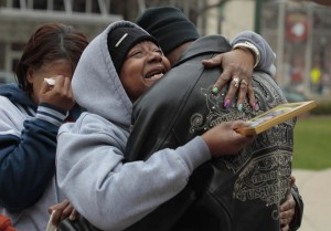 Dontre's mother Maria and brother Nathaniel Hamilton after his killing.