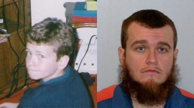 Matthew Bentley at 14, when he was charged, and today.