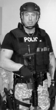 William Melendez in SWAT style armor.