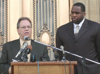 Former DWSD director Victor Mercado with former Mayor Kwame Kilpatrick, both indicted for RICO violations. Kilpatrick is serving 28 years in prison, Mercado likely told on him and is scott-free.