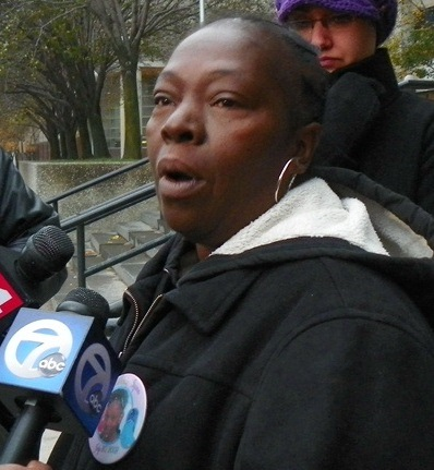 Mertilla Jones at press conference Oct. 29, 2012, demanding trial for Joseph Weekley. Continued protests eventually forced him to court.