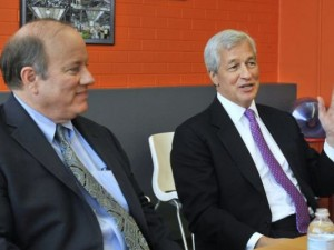 """Detroit """"Mayor"""" Mike Duggan meets with Chase CEO Jamie Dimon Feb. 11, 2015."""