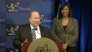 Mayor Mike Duggan and chief of staff Alexis Wiley, a former newscaster.