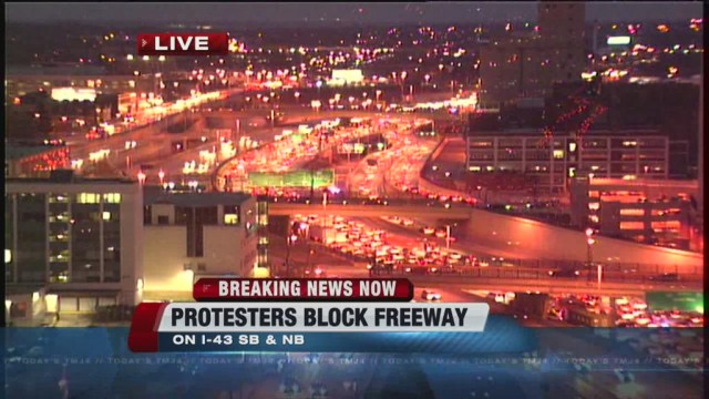 Milwaukee traffic jam Dec. 19, 2014 caused by protesters.