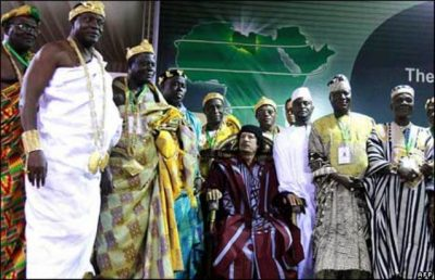 Libyan Pres. Muammar Gaddafi with leaders from African continent.