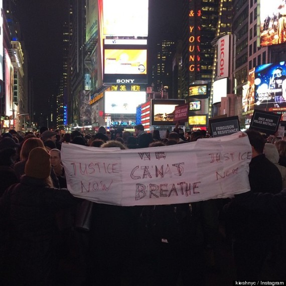 "Protesters chanted ""We can't breathe!"""