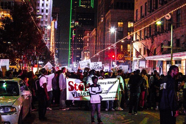 Next Generation Action Network conducts protest on Main Street in downtown Dallas, Dec. 2014. Facebook photo