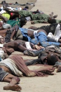 Nigerians slaughtered by Boko Haram.