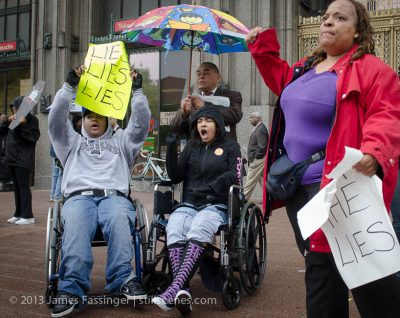 Parents, students and supporters rally in front of Detroit Public School HQ in protest of closing Oakman Elementary/Orthopedic School in Detroit — which serves disabled students. All they need is $46,000 to keep the school open. DPS is selling the school building for a mere $46,000. Parents want to buy it and are raising money to do so.Photograph: James Fassinger/STILLSCENES