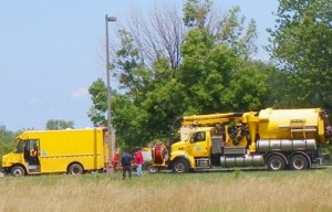City of Detroit PLD workers fixing streetlights on Belle Isle July 29, 2012.